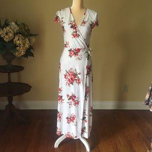 No label floral wrap dress euc S